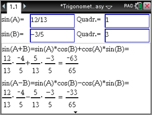 Trig Identity All-In-One Solver with the TiNspire CX