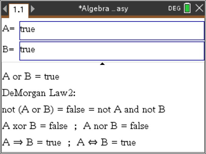 TiNspire: Perform Boolean Algebra and DeMorgan Laws