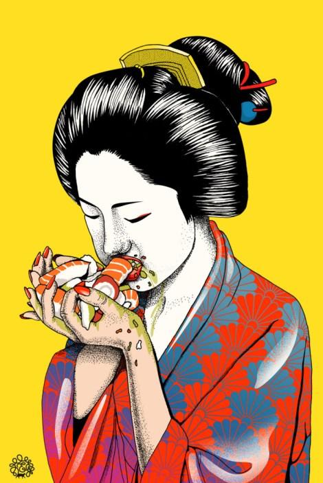 geisha comiendo sushi, sushi, geisha, atascón, comida, depresión, escritores, escribir