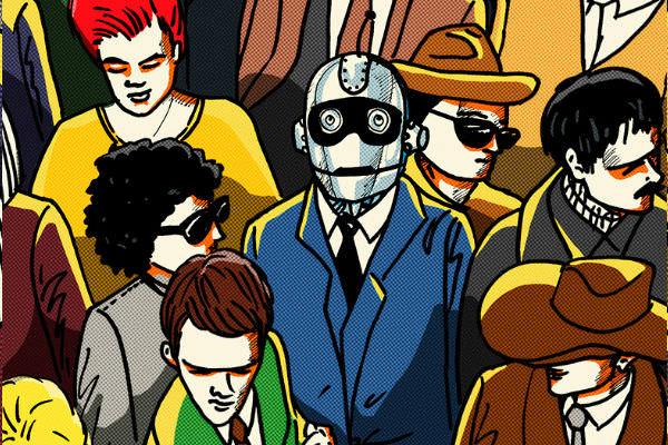 Robot entre una multitud, se puede vivir de escribir con 1000 fans