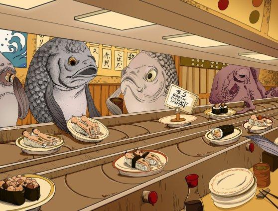 pescados comiendo humanos, restaurante de sushi para pescados, mundos al revés