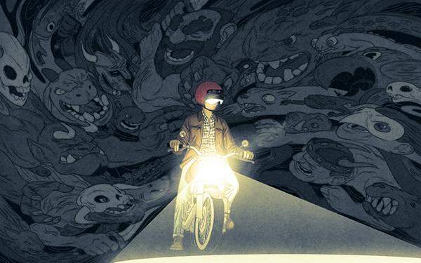 moto en la noche, monstruos, rechazo, escritores, pesadillas, fantasmas, los escritores y el rechazo