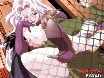 Lengthy haired anime porno bitch in tights showcasing her yam-sized boobs