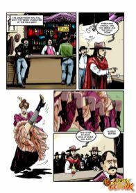 Two lewd comics honeys eating vags and sharing a XXL phallus