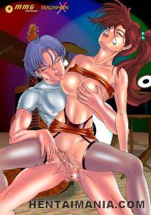 Appetizing manga porn babe railing a giant knob outdoors