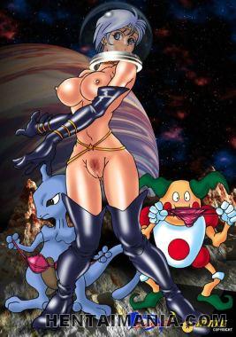 Enchanting manga porno blondie riding a massive faux penis on the street