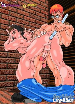 2 aroused hentai homos kissing and pawing their sexy donks with eagerness outdoors