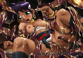 Lengthy legged ebony anime porno vixen getting trussed and cumshoted