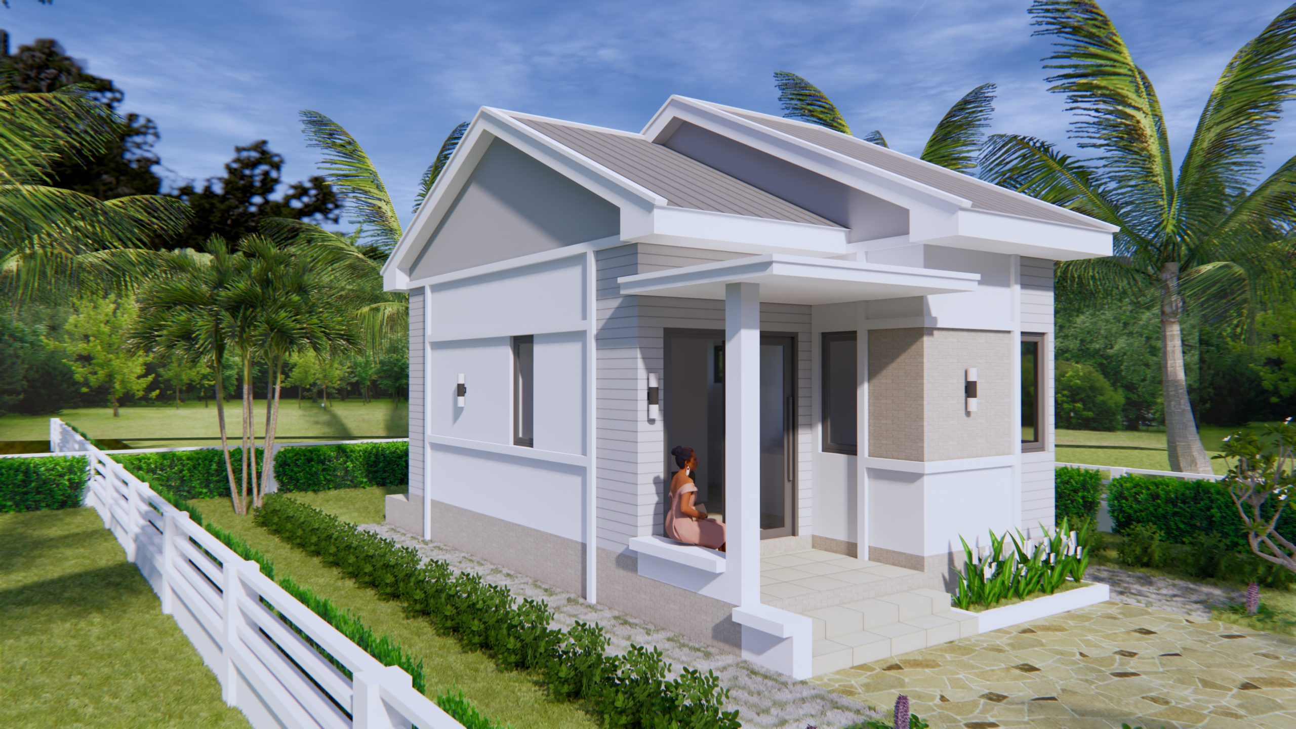 one bedroom house plans 45x75 gable roof  tiny house plans