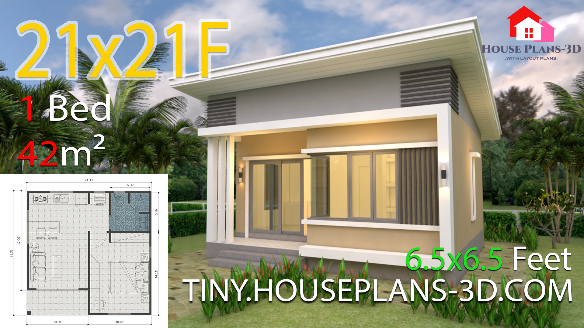 House Plans 21x21 Feet 6 5x6 5m Shed Roof Tiny House Plans