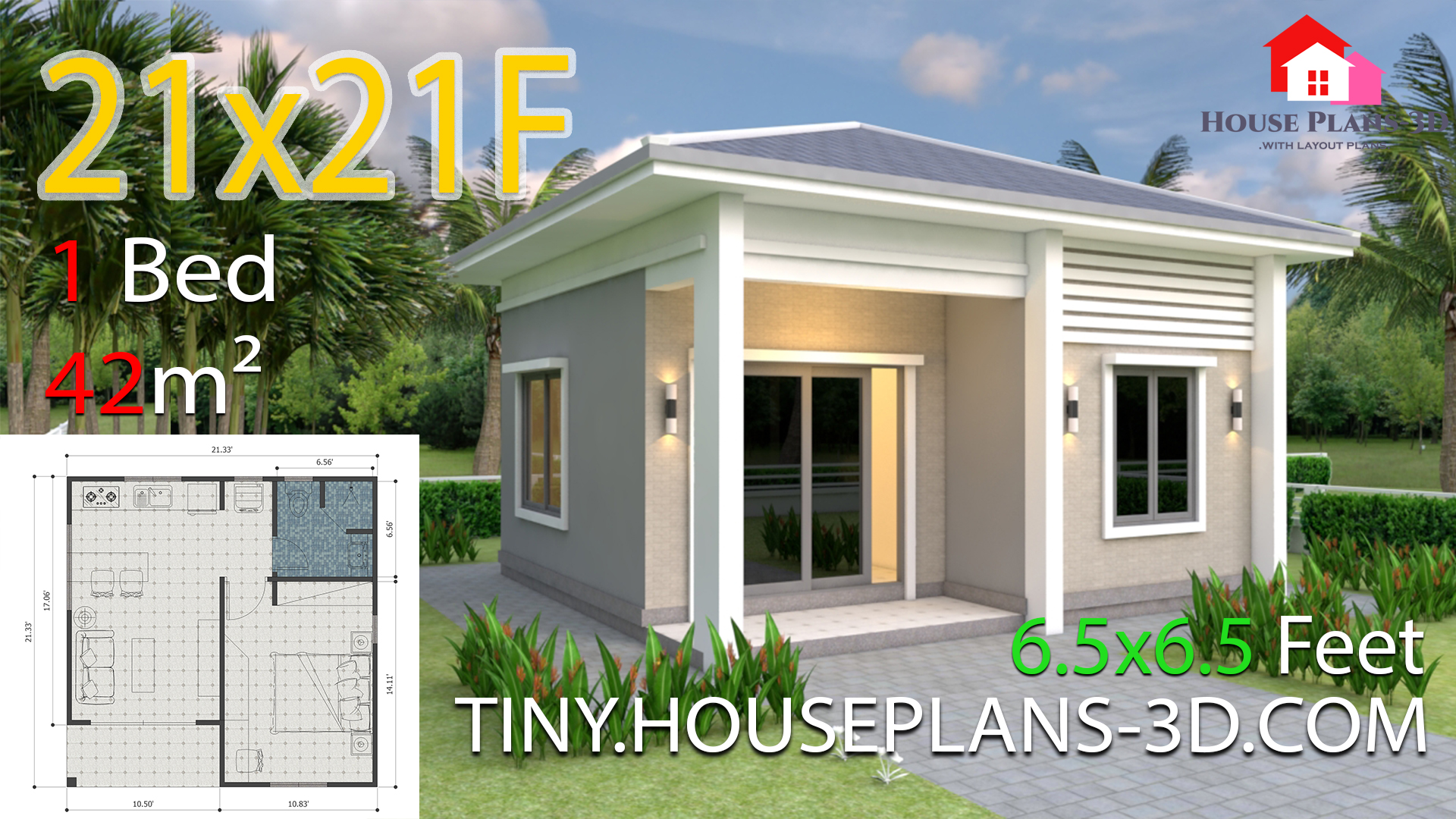 One Bedroom House Plans 21x21 Feet 6 5x6 5m Hip Roof Tiny House Plans