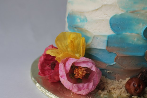 hibiscus flowers on tropical theme birthday cake