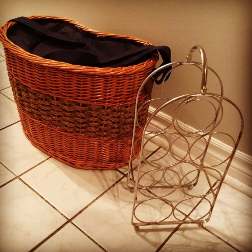 This insulated picnic basket and wine rack were given to us from the local Buy Nothing Project.