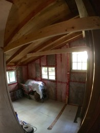 A wide angle lens shows almost the whole room.