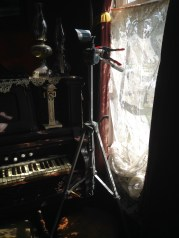 Ghost hunters were getting set up in the house while we were there.