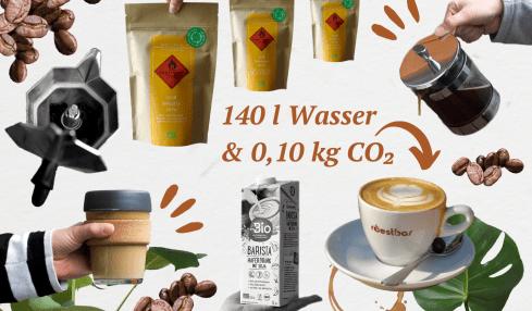 Collage mit Herdkanne, French Press, Kaffeetasse, Haferdrink und Kaffeebohnen