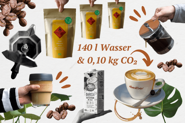 Collage mit Herdkanne, French Press, Kaffeetasse, Haferdrink und Kaffeebohnen