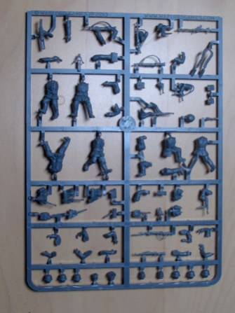 """This is the same sprue as the """"Blitzkrieg infantry"""". The engineering bits are separate and in metal."""