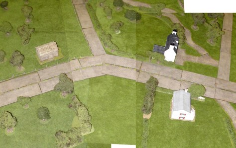 Aerial view, with the Germans fighting from right to left towards the British positions in the woods.