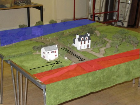 German patrols starting from the red, British from the blue