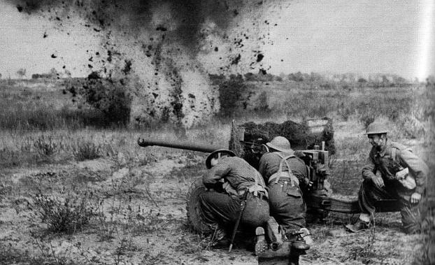 A British 6-pdr gun battles German tanks : spring 1945