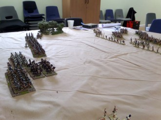George's Romans square off against my barbarians on a dusty field