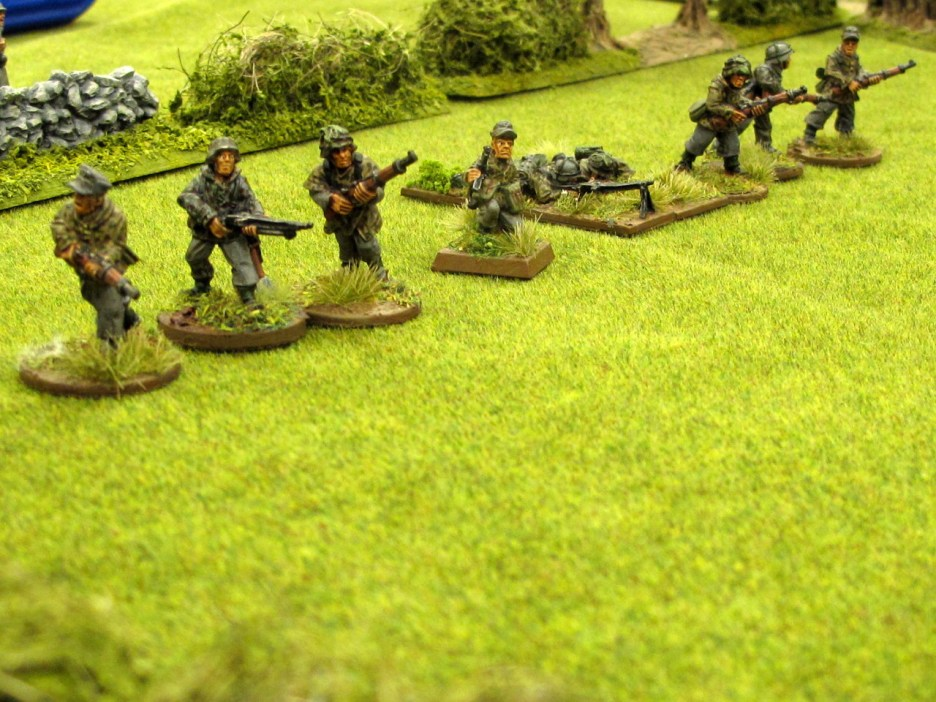 Seizing their chance the Germans leg it across the field.