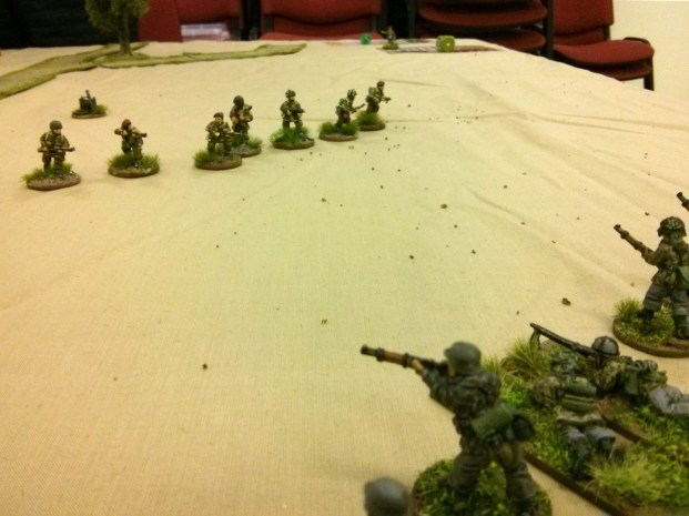 The understrength 2 Section pops up out of the wheatfields to engage the advancing Germans at short range
