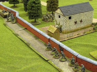 The Germans begin building up along the wall