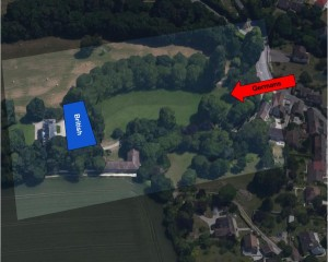An aerial shot of the modenr chateau, showing the approximate area of the table.