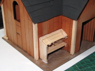 I built this little lean-to out of stirrers to conceal the joints