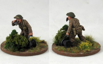 Mortar observer with a scratch built reel of wire for his landline