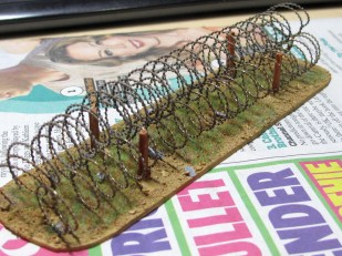 Some barbed wire obstacles I've got on the bench