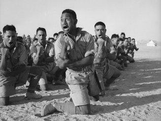 Men of 28 Maori Battalion doing the haka