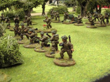 British infantry form up in the orchard