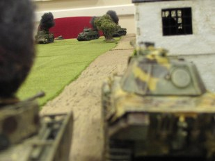 Panzer's eye view of the carnage. Yes, that is a Panther standing in for the Panzer IV.