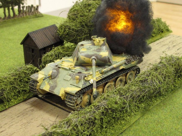 Struck twice by the 17pdr, the Panther burns