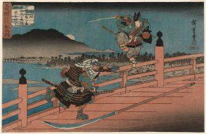 Benkei fights Yoshitsune on Gojo Bridge. Legend has it that Benkei had defeated 999 attackers.
