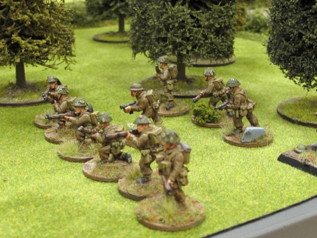 British troops infiltrate in the orchard