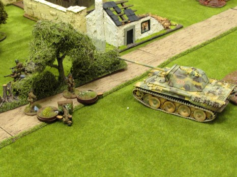 ...but the tank is still in play and tries to reverse over the Brits (they dodge)