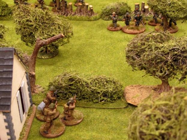 A Bren gun springs an ambush ahead of the main British line