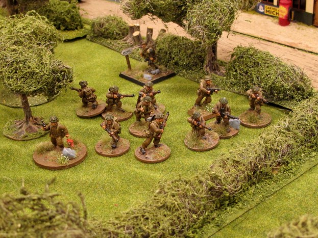 British infantry move up through the orchard where they got battered in the last game