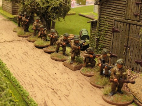 British infantry infiltrate up the lane