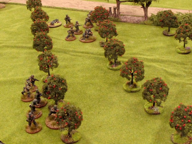 Two German squads stake out the orchard