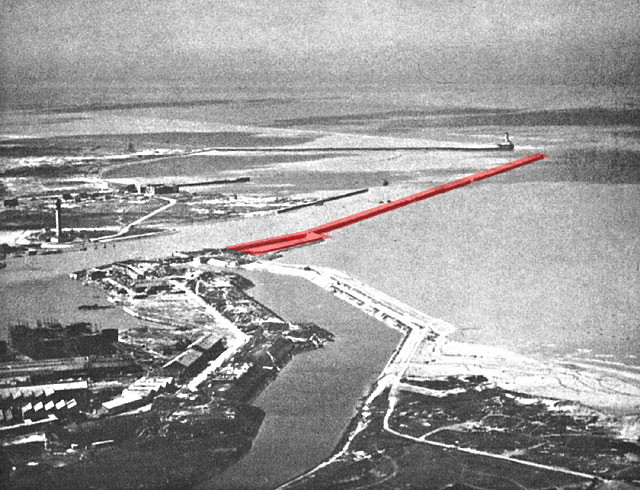 Shown in red, most troops boarded large ships moored at the East Mole