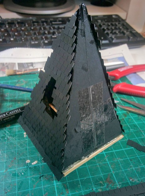 Adding the tiling strips to an angled roof and having them look tidy is a bit more tricky than your average roof