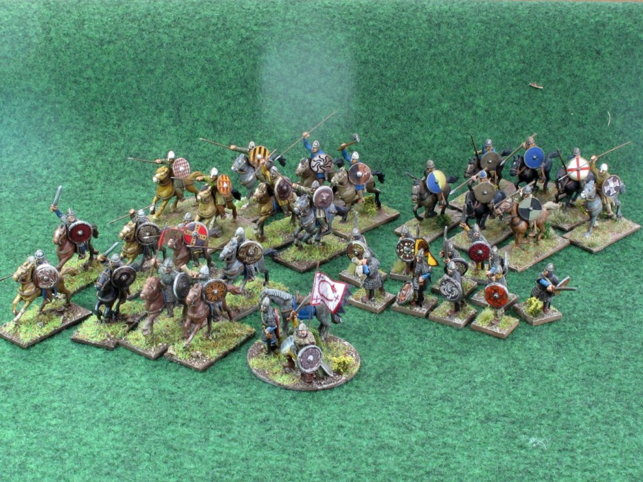 A sample Saga warband. Warlord, unit of 8 Hearthguard, two units of 7 mounted soldiers, 10 on foot