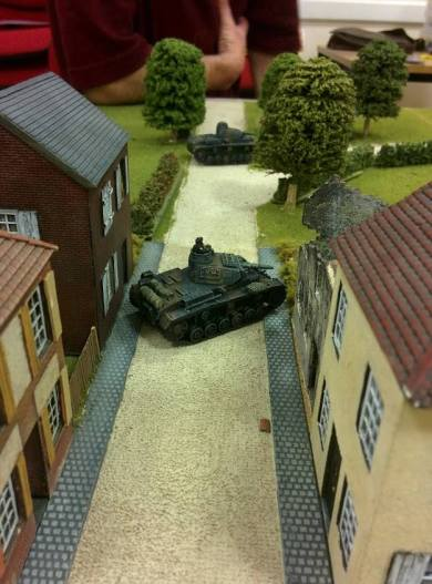 Two German tanks focused their fire on the closest British Cruiser