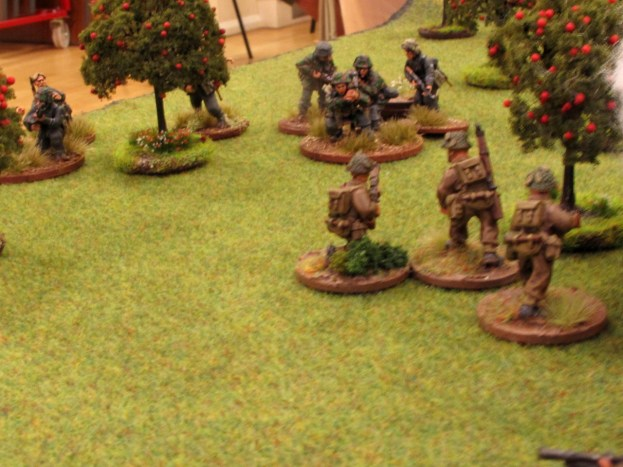 Surprise Tommy! The British advance runs in some Germans.