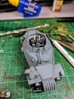Two plastic Warlord infantry bodies and heads dressed in panzer colours work as crew